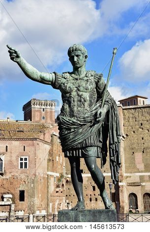 Augustus bronze monument in front of Imperial Forum in the center of Rome