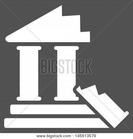 Historic Ruins icon. Vector style is flat iconic symbol, white color, gray background.