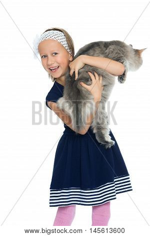 Laughing little girl catches the fleeing cat - Isolated on white background