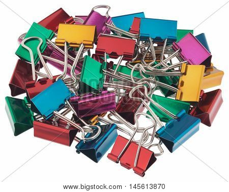 Binder clips for paper. Objects isolated on white background without shadows