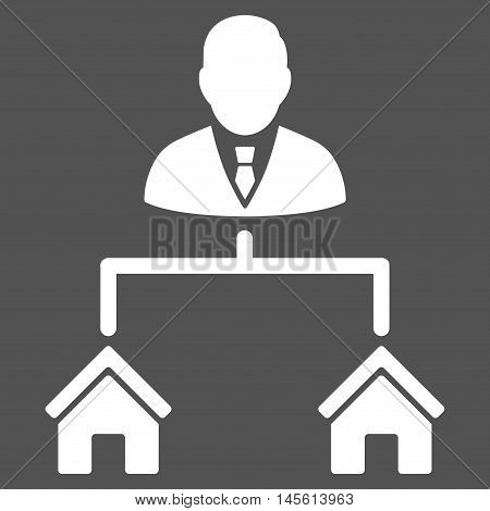 Realty Manager icon. Vector style is flat iconic symbol white color gray background.