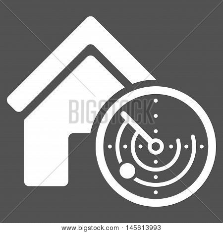 Realty Radar icon. Vector style is flat iconic symbol white color gray background.