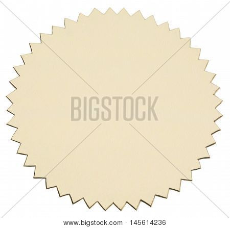 Gold foil sticker with serrated edge. View of obliquely from above. Object is isolated on white background without shadows.