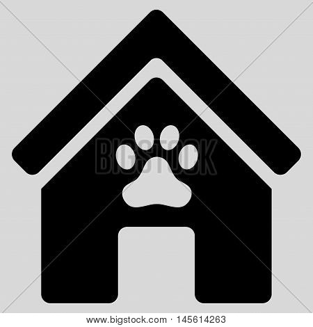 Doghouse icon. Vector style is flat iconic symbol, black color, light gray background.