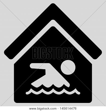 Indoor Water Pool icon. Vector style is flat iconic symbol, black color, light gray background.