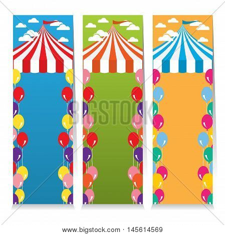 Set Of Three Colorful Circus Theme Vertical Banners Vector Illustration. EPS 10