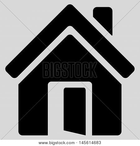Open House Door icon. Vector style is flat iconic symbol, black color, light gray background.