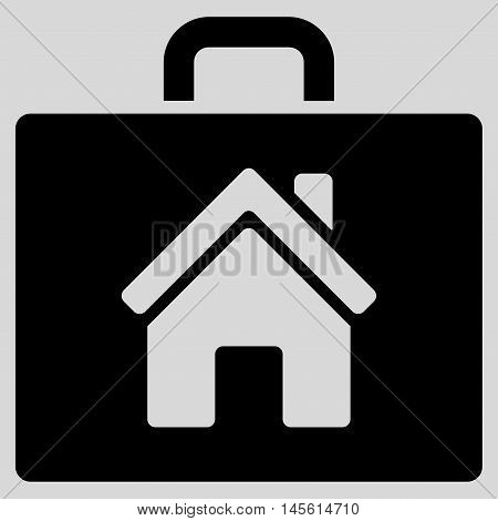 Realty Case icon. Vector style is flat iconic symbol, black color, light gray background.