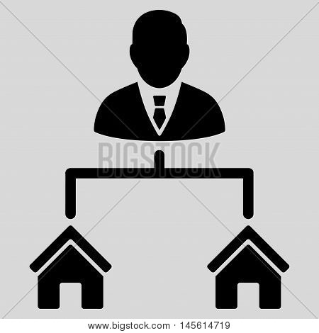 Realty Manager icon. Vector style is flat iconic symbol, black color, light gray background.
