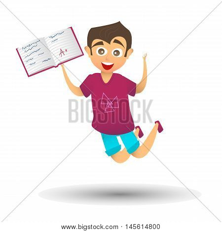 Happy cute boy character joyfully jumps up and holds school notebook with excellent marks.