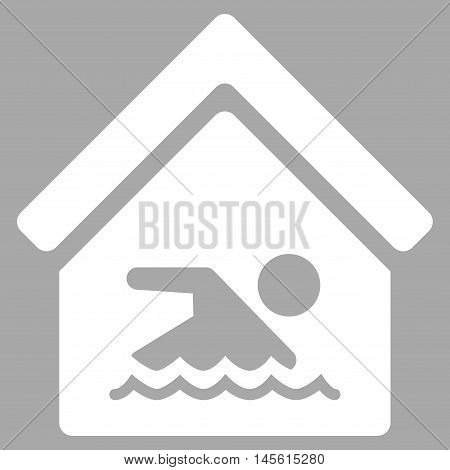 Indoor Water Pool icon. Vector style is flat iconic symbol, white color, silver background.