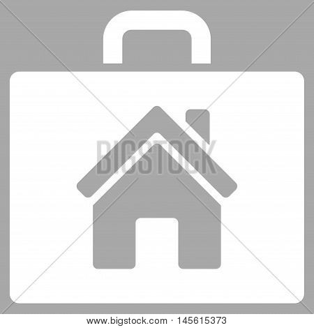Realty Case icon. Vector style is flat iconic symbol, white color, silver background.