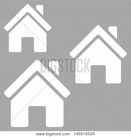 Village Buildings icon. Vector style is flat iconic symbol, white color, silver background.