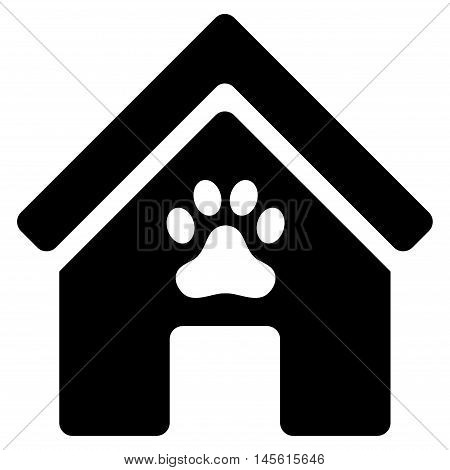 Doghouse icon. Vector style is flat iconic symbol, black color, white background.