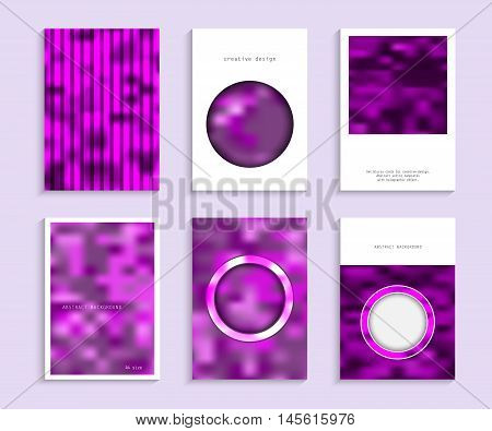 Set blurry cards for creative design. Abstract vector templates with holographic effect. Monochrome texture. Collection banners, pages, posters, covers in magenta, gray and white tones. A4 size.