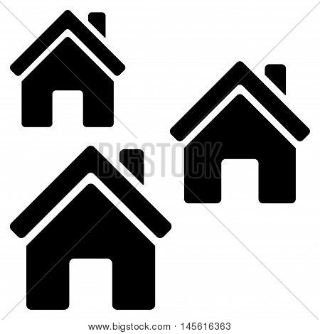 Village Buildings icon. Vector style is flat iconic symbol, black color, white background.