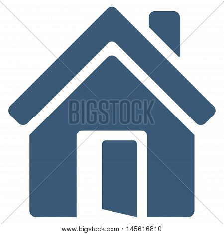 Open House Door icon. Vector style is flat iconic symbol, blue color, white background.