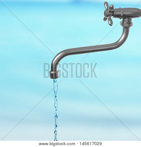 Conservation water concept. Metal faucet with water stream on blurred blue background.