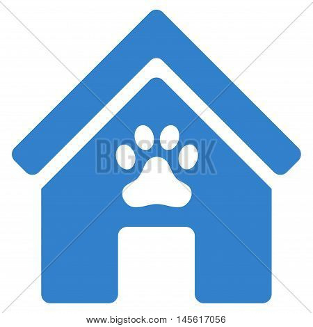 Doghouse icon. Vector style is flat iconic symbol cobalt color white background.