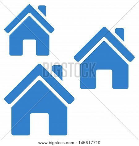 Village Buildings icon. Vector style is flat iconic symbol, cobalt color, white background.