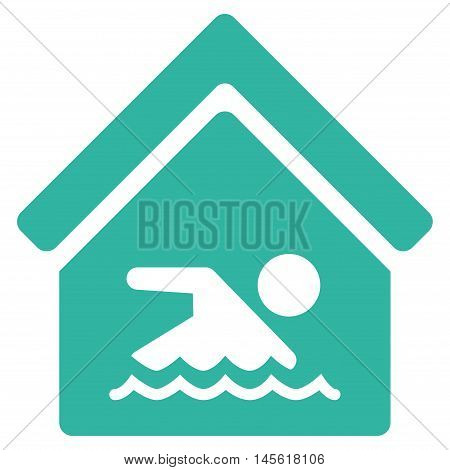 Indoor Water Pool icon. Vector style is flat iconic symbol, cyan color, white background.