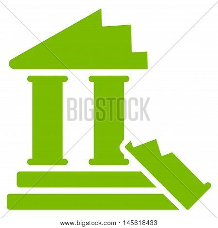 Historic Ruins icon. Vector style is flat iconic symbol, eco green color, white background.