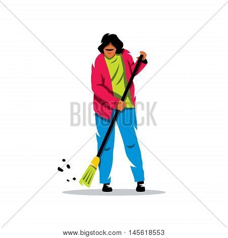 Woman with a broom sweeps the dust. Isolated on a white background