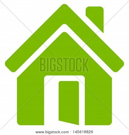Open House Door icon. Vector style is flat iconic symbol, eco green color, white background.