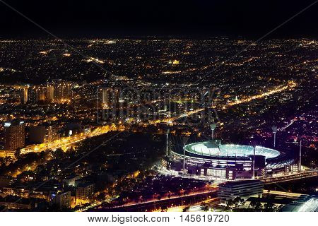 Aerial Night View Of Melbourne Cricket Ground And City At Night
