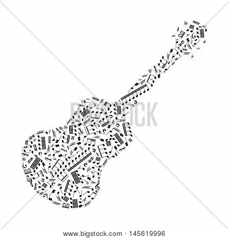 Guitar silhouette made up from music notes and signs isolated on white