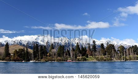 Majestic mountain and lake landscape of Queenstown New Zealand. Lake Wakatipu Kelvin Heights The Remarkables