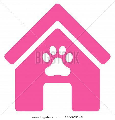 Doghouse icon. Vector style is flat iconic symbol, pink color, white background.