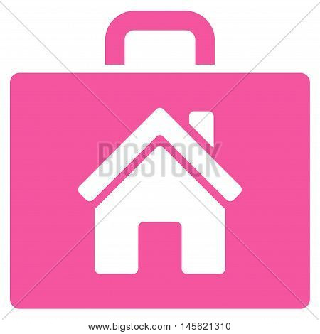 Realty Case icon. Vector style is flat iconic symbol, pink color, white background.