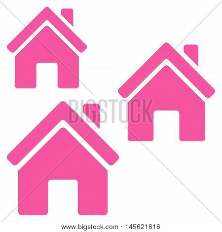 Village Buildings icon. Vector style is flat iconic symbol, pink color, white background.