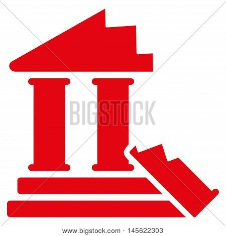 Historic Ruins icon. Vector style is flat iconic symbol, red color, white background.