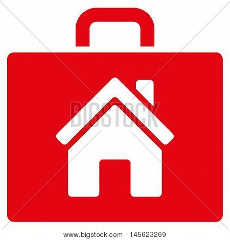 Realty Case icon. Vector style is flat iconic symbol, red color, white background.