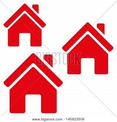 Village Buildings icon. Vector style is flat iconic symbol, red color, white background.