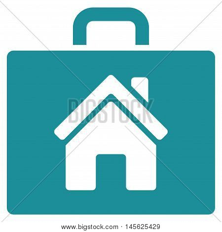 Realty Case icon. Vector style is flat iconic symbol, soft blue color, white background.