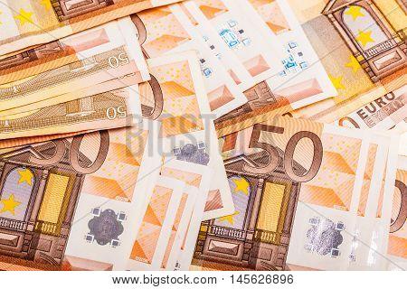 Euro Bills Heap