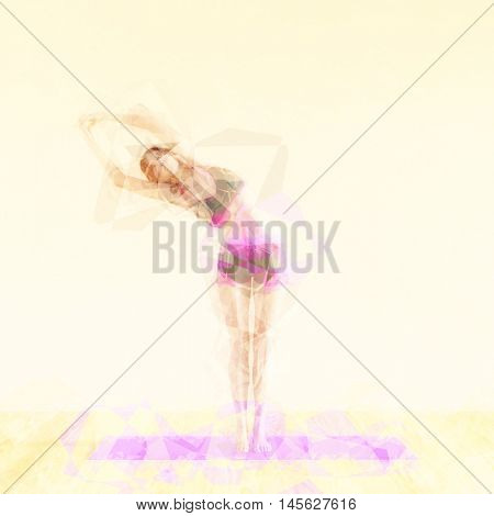 Pilates Concept Illustration with Abstract Exercise Woman 3D Illustration Render