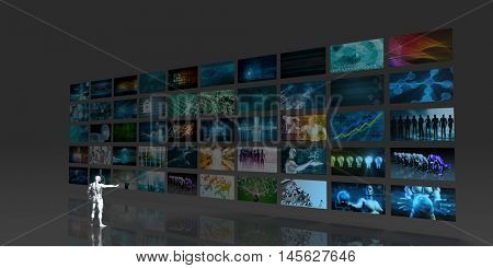 Man Looking into Video Wall Screens in 3d 3D Illustration Render