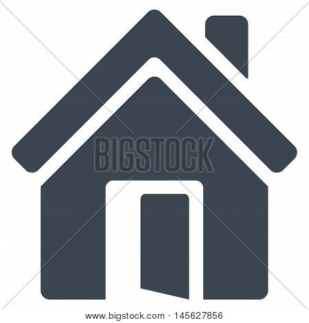 Open House Door icon. Vector style is flat iconic symbol, smooth blue color, white background.