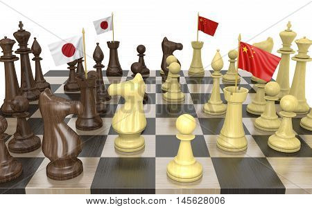 Japan and China foreign policy strategy and power struggle, 3D rendering