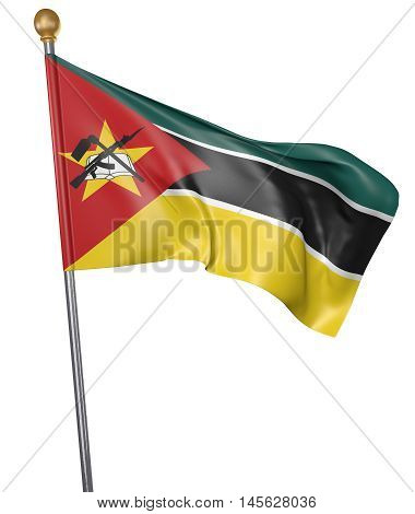 National flag for country of Mozambique isolated on white background, 3D rendering