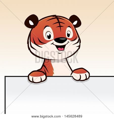 Cute cartoon tiger cub for frame border element