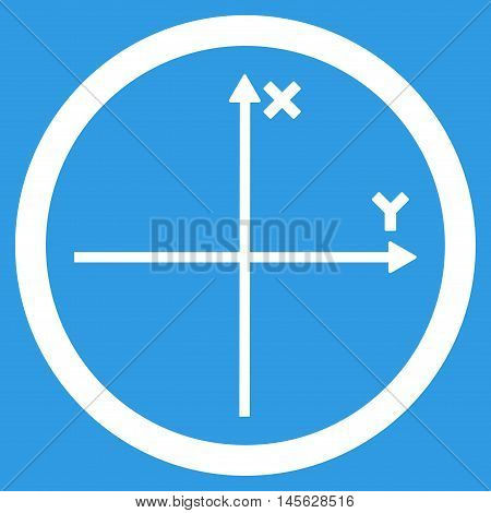 Cartesian Axis vector rounded icon. Image style is a flat icon symbol inside a circle, white color, blue background. Vector illustration.