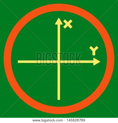 Cartesian Axis vector bicolor rounded icon. Image style is a flat icon symbol inside a circle, orange and yellow colors, green background. Vector illustration.