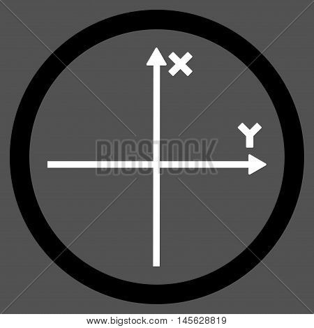Cartesian Axis vector bicolor rounded icon. Image style is a flat icon symbol inside a circle, black and white colors, gray background. Vector illustration.