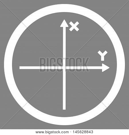 Cartesian Axis vector rounded icon. Image style is a flat icon symbol inside a circle, white color, gray background. Vector illustration.