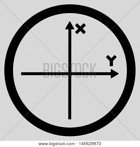 Cartesian Axis vector rounded icon. Image style is a flat icon symbol inside a circle, black color, light gray background. Vector illustration.